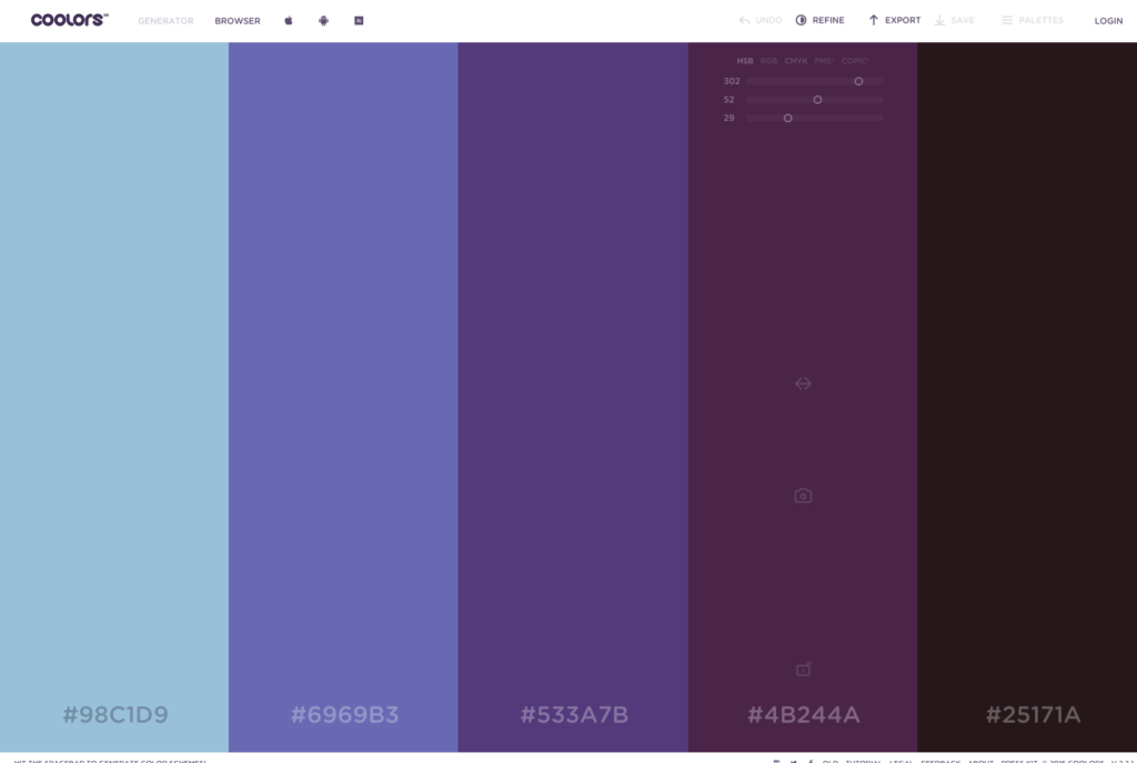 Coolors   The super fast color schemes generator